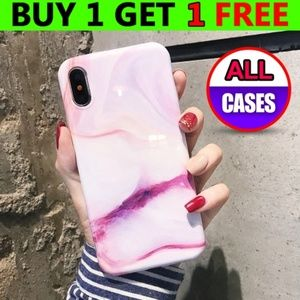 Accessories - *NEW iPhone X/XS/7/8/Plus Pink White Marble Case
